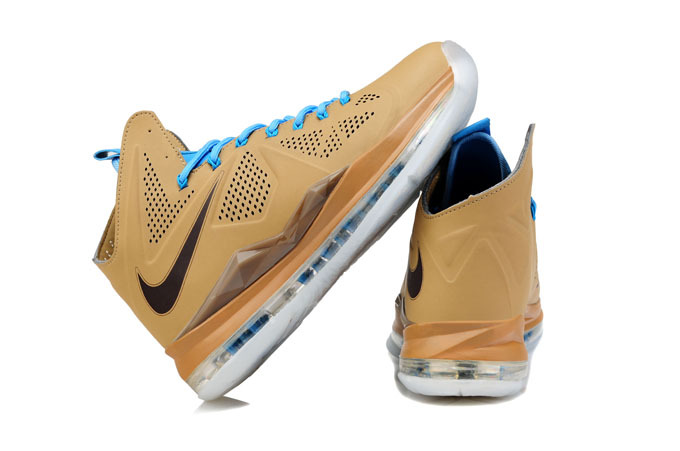 Nike Lebron James 10 CUT Edition Coffe Blue White Shoes