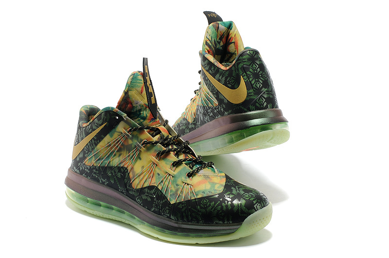 Nike Lebron James 10 Champion Edition Black Colorful Basketball Shoes