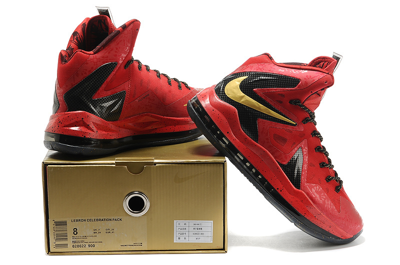 the latest 7b17e 635f5 Nike Lebron James 10 Champion Edition Red Black Basketball Shoes