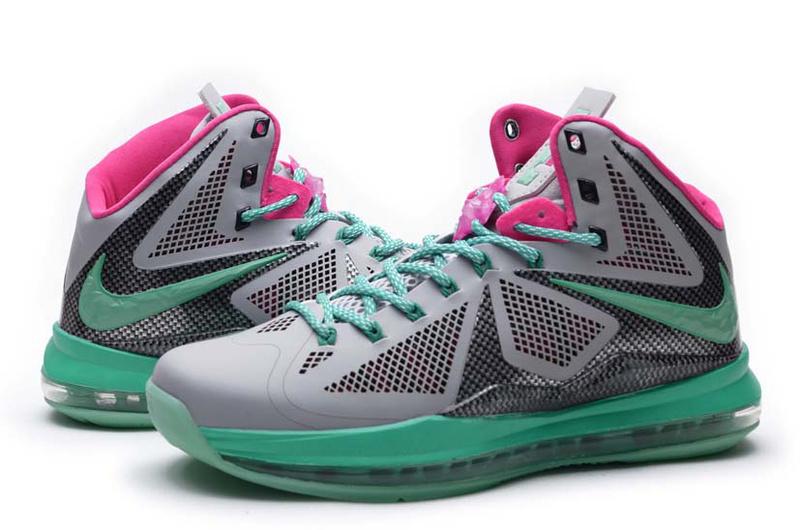 Nike Lebron James 10 Midnight Hardcover Grey Green Pink