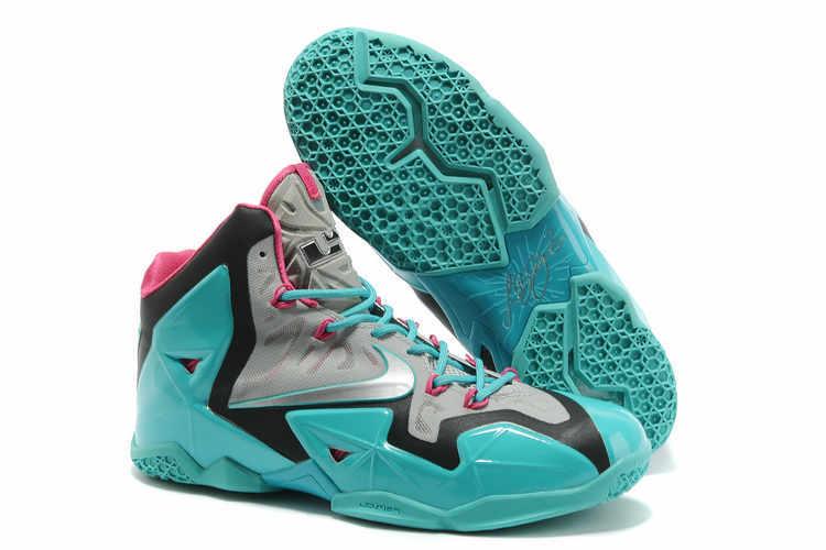 Nike Lebron James 11 Grey Black Light Blue Shoes