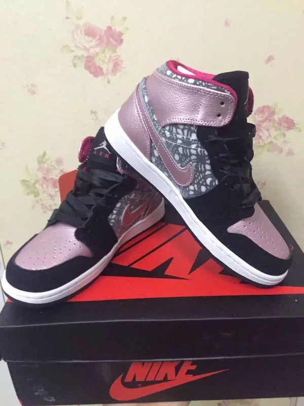 e3a368130 2015 Real Air Jordan 1 Shoes Black Pink For Women