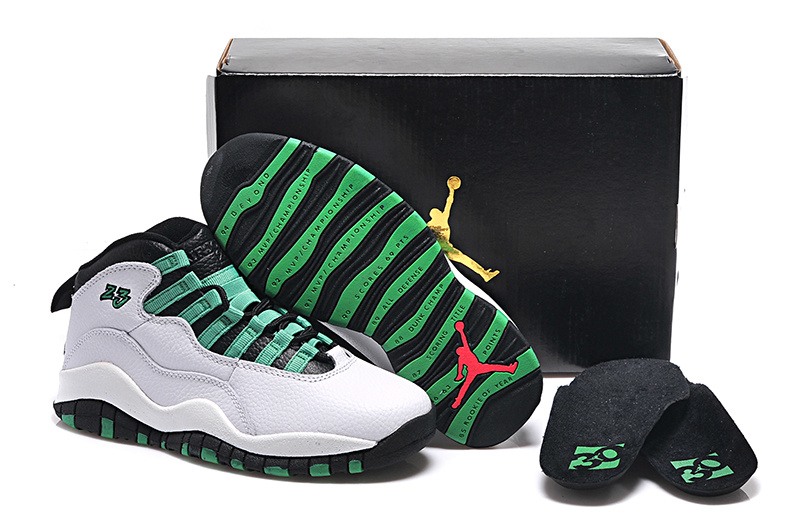 2015 Cheap Real White Green Black Air Jordan 10 Retro Bulls Over Broadway Shoes