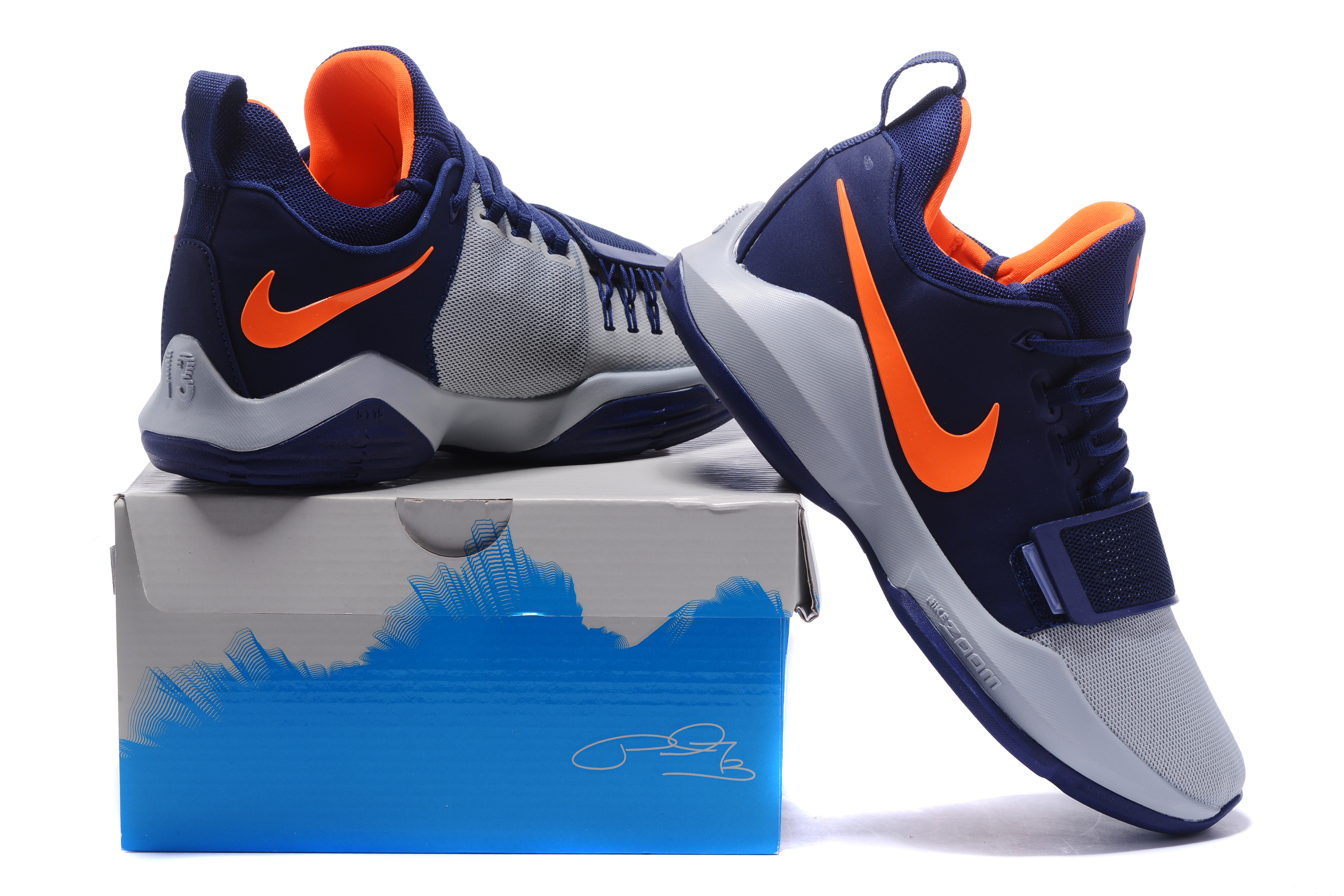 Paul George 1 Dark Grey Blue Orange On Sale