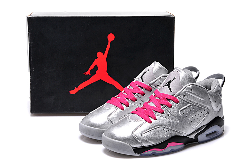 2015 Cheap Real Silver Pink Black Air Jordan 6 Low Lovers Shoes