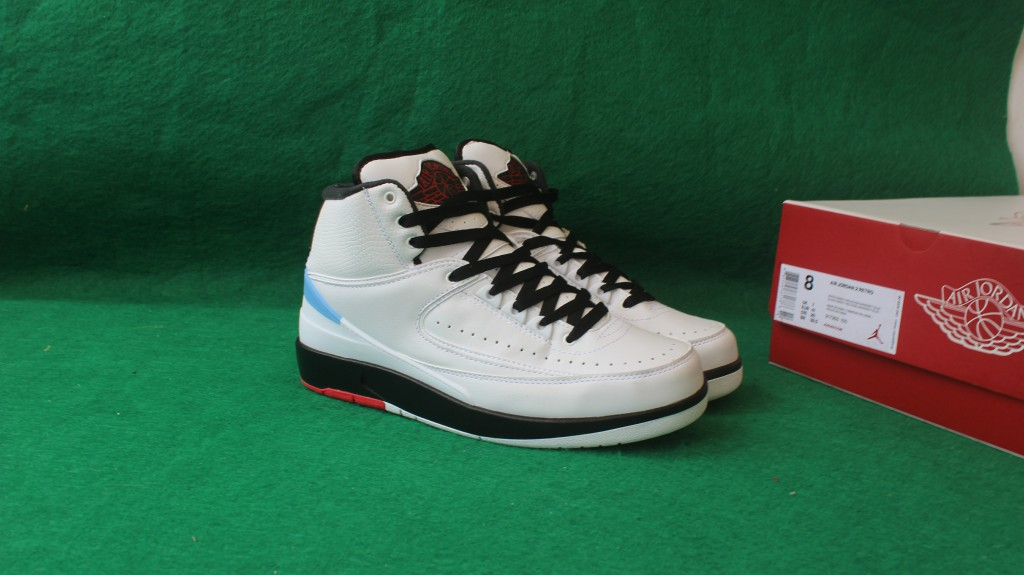 Sup Air Jordan 2 Pro Leather White Black Red Shoes