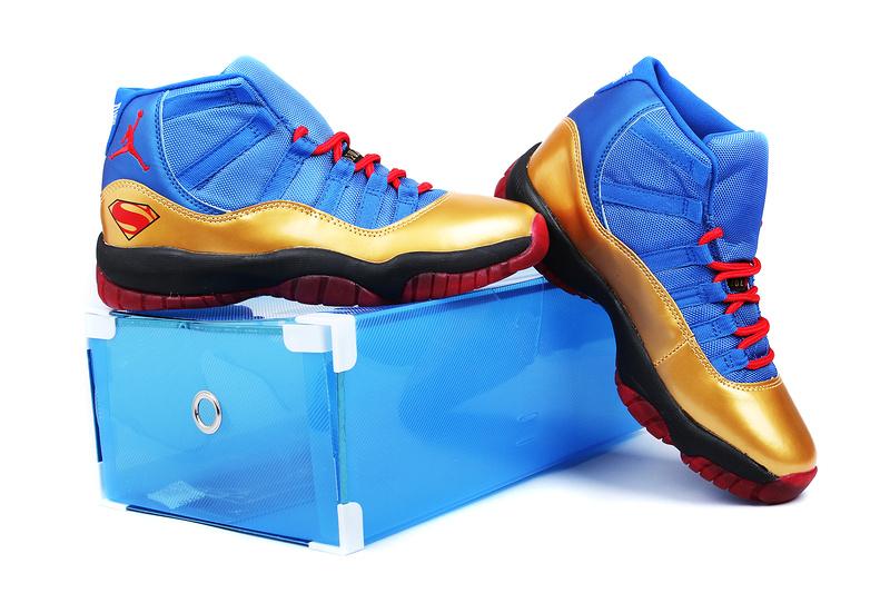 promo code 9550a 1e325 2013 Superman Jordan 11 Retro Edition Blue Gold Black Red Shoes