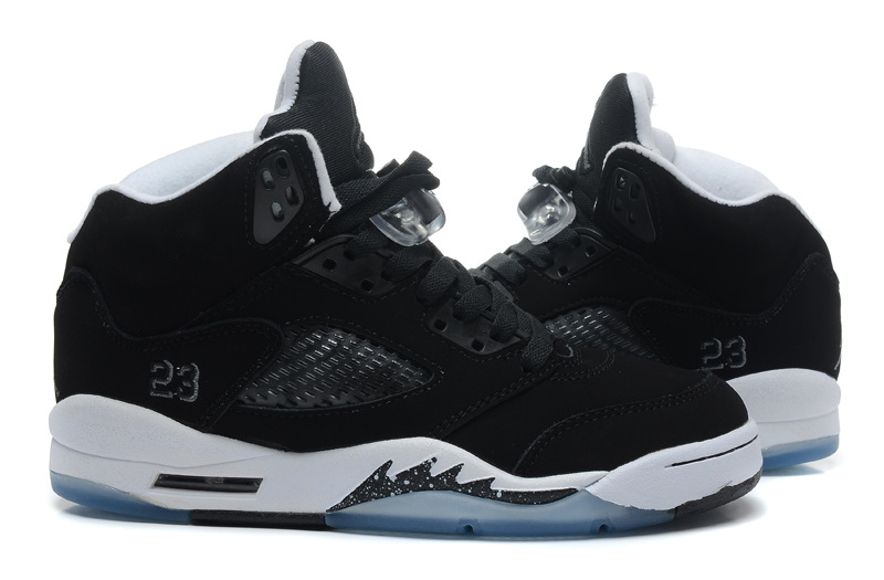 Top Layer Leather Air Jordan 5 Black White Shoes