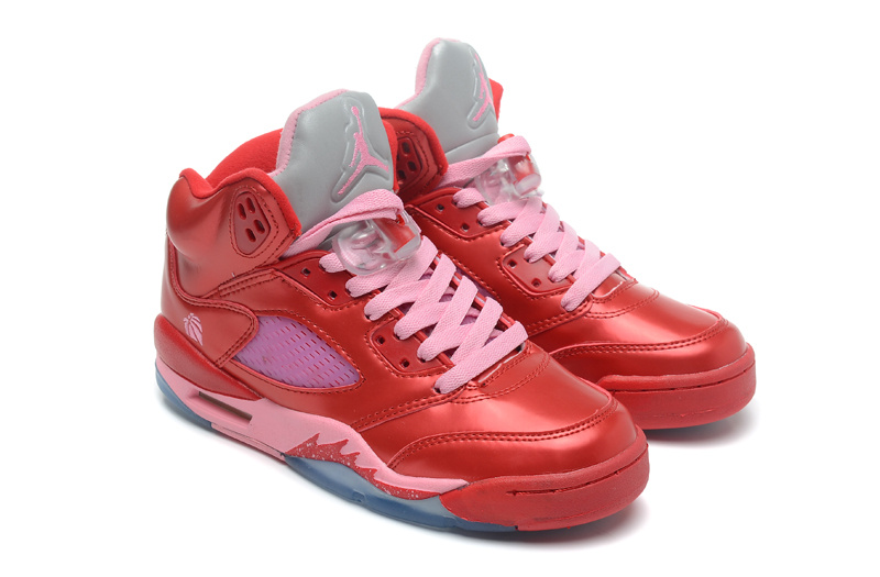 Top Layer Leather Air Jordan 5 Red Pink Shoes