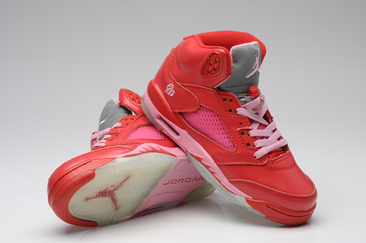 Fashionable Valentine Air Jordan 5 Red Pink For Women
