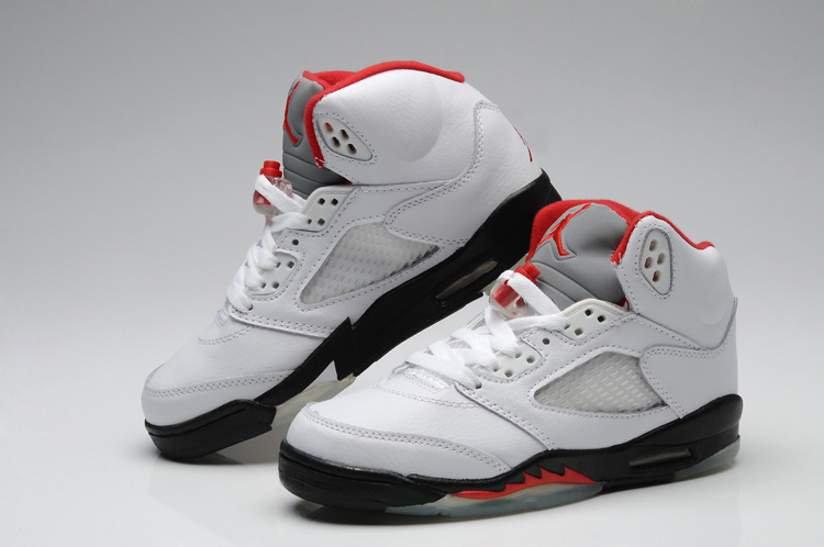 Fashionable Valentine Air Jordan 5 White Black Red For Women