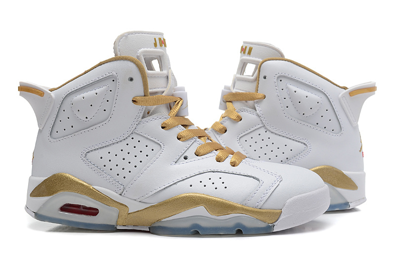 2015 Cheap Real White Gold Air Jordan 6 GS Shoes