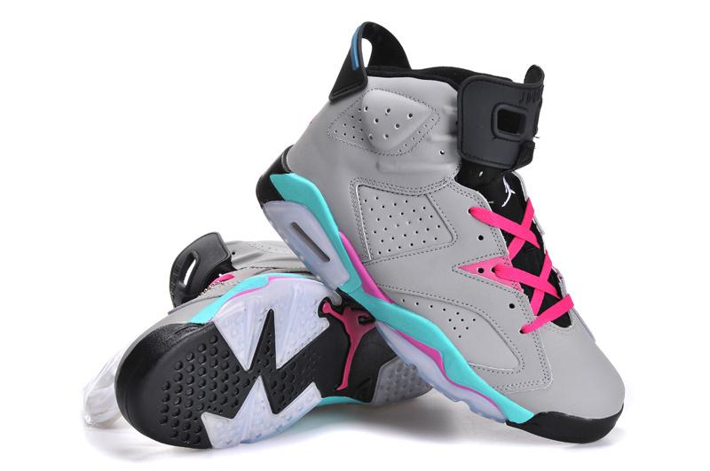 Women Jordan 6 Grey Black Pink Shoes