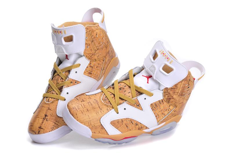 Women Jordan 6 White Coffe Shoes