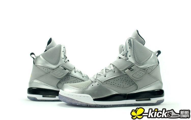 Women Jordan 4+5 White Silver Black Shoes