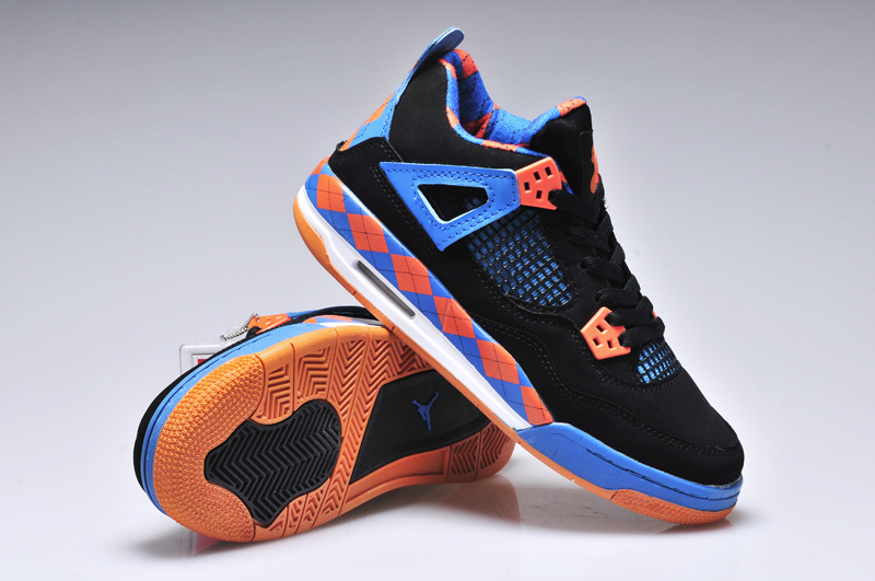 Women Jordan 4 Barefoot Print Black Blue Orange Shoes