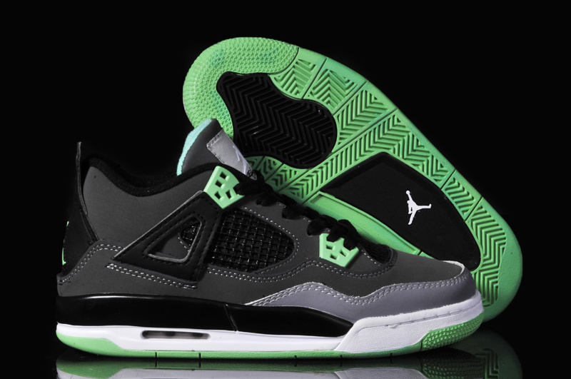 Women Jordan 4 Oreo Black Grey Green Shoes