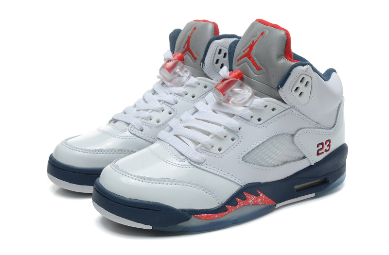 Women Jordan 5 White Red Purple Shoes