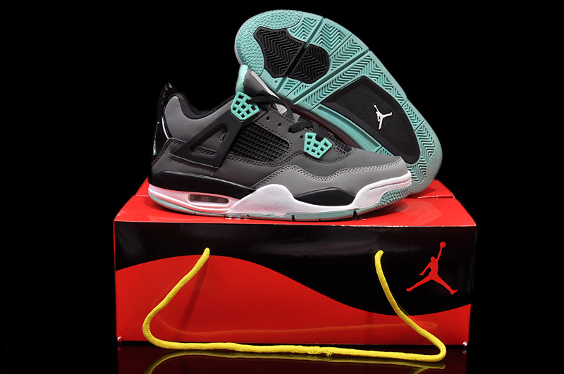 Womens Jordan 4 Hardback Black Grey Green White Shoes