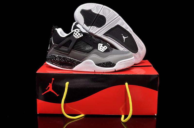 15811de0a402 Womens Jordan 4 Hardback Black Grey White Shoes