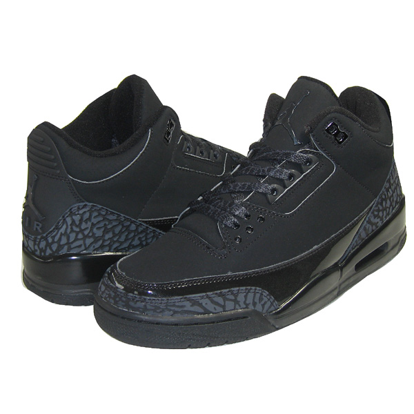 Real Air Jordan III Retro All Black Cat Charcoal