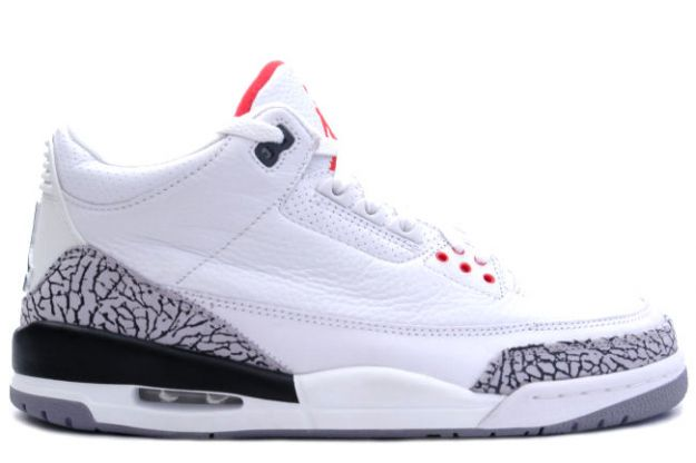 Original Air Jordan III White Cement Grey Fire Red