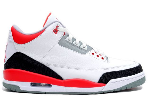 Original Air Jordan III White Fire Red Cement Grey